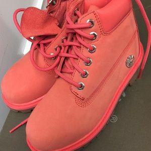 Pink Timberlands boot